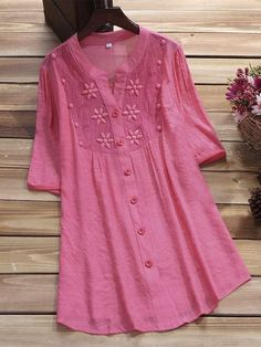 Solid Color Embroidery Hollow Vintage Blouse For Women Cheap - NewChic M.- Solid Color Embroidery Hollow Vintage Blouse For Women Cheap - NewChic M. White Outfits For Women, Casual Tops For Women, Blouses For Women, Kurta Designs Women, Blouse Designs, Mode Outfits, Fashion Outfits, Fashion Clothes, Modele Hijab