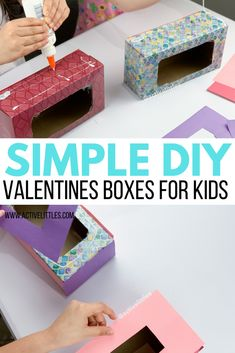 Simple DIY Valentine's Boxes For Kids - Active Littles Valentines Day Crafts For Preschoolers, Valentines Games, Valentine Activities, Valentines For Kids, Valentine Day Crafts, Preschool Crafts, Cool Valentine Boxes, Valentine Baskets, Simple Diy