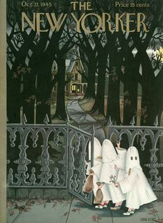 """Illustration by Edna Eicke American magazine illustrator. She worked with """"The New Yorker,"""" doing 57 covers (scenes of early childhod) fstarting in The New Yorker, New Yorker Covers, Halloween Prints, Halloween Art, Vintage Halloween, Capas New Yorker, Illustrations, Illustration Art, Journal Vintage"""