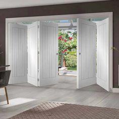 Thrufold Suffolk Flush 3+2 Folding Door - White Primed - Lifestyle Image.    #foldingdoors #interiorfoldingdoors