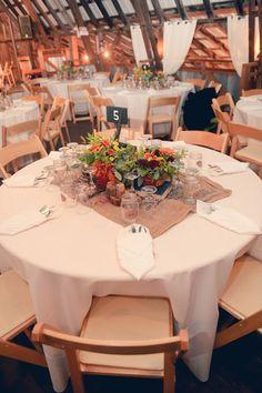 Indoor Outdoor Barn Wedding - burlap sack table runners!