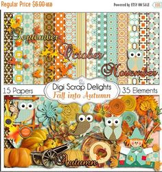 50% OFF TODAY Fall into Autumn Owls Scrapbook Kit Owl Pumpkin Patch Digital Clip Art for Scrapbooking  Fall Colors, Fall Festival, Instant  #Scrapbooking #Fall #Autumn #Scrapbookingkits #DigiScrapDelights #ClipArt #Harvest #DigitalPapers #Pumpkins