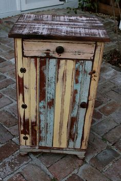 Reclaimed Furniture - Handmade - Wooden Table - Honey's Treasures - Wood Furniture - Made to Order - Nightstand - Rustic Home Decor Reclaimed Wood Side Table, Rustic Side Table, Reclaimed Wood Furniture, Farmhouse Furniture, Rustic Furniture, Painted Furniture, Bedroom Furniture, Kitchen Furniture, Beach Furniture