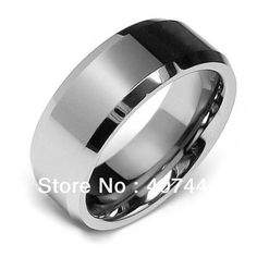 Free Shipping Beveled Edge Center Comfort Fit Classic Tungsten Wedding Band 8mm  Size 5-14 Comfort-fit Wedding Band Ring