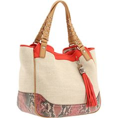 "#Rafe ""Slowey"" Linen triple compartment shopper with python print and pebble leather trim available @zapposcouture.com"