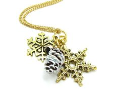 Snowflake & Pinecone Necklace