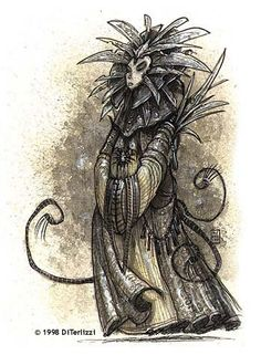 Tony DiTerlizzi's original concept art for the Lady of Pain.  #Planescape #source