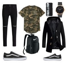 """""""Untitled #34"""" by annaluisescheibe on Polyvore featuring Vans, Hollister Co., The Horse, McQ by Alexander McQueen, NIKE, men's fashion and menswear"""