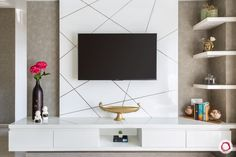 Mumbai House Decoration in Muted Hues for a Magnificent Design Tv Unit Interior Design, Tv Wall Design, Foyer Design, Hall Design, Bed Design, Interior Ideas, Tv Unit Furniture, Furniture Design, Wood Furniture