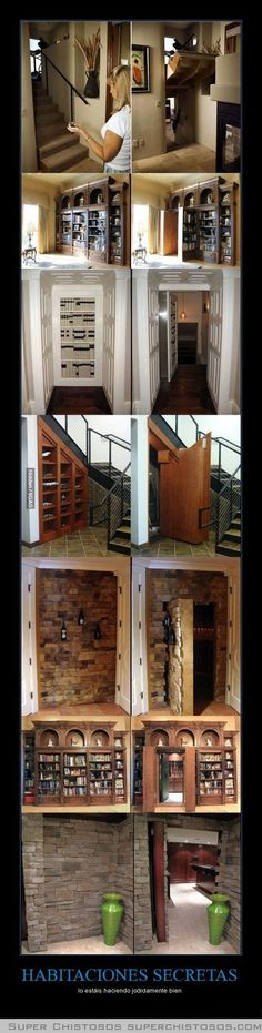 Hidden Passageways In House! Secret Hidden Passageways In Houses! Gotta have one of these!Secret Hidden Passageways In Houses! Gotta have one of these! Future House, Hidden Passageways, Hidden Spaces, Hidden Rooms In Houses, Safe Room, Hiding Places, My Dream Home, House Plans, Sweet Home