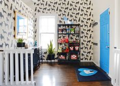 OTAT entry - I love the mostly neutral, plants, and one pop of color along with all the hangers. // Yellow Brick Home Diy Dog Gate, Diy Gate, Diy Baby Gate, Baby Gates, Extra Wide Baby Gate, Dog Rooms, Office Setup, Backyard Fences, Dog Houses