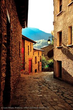 Living antic. Historic center of La Massana city at Cami Ral. La Massana. Vall nord, Andorra, Pyrenees