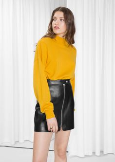& Other Stories image 3 of Zip Hip Sweater in Yellow