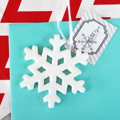 Dreamland Wedding Shoppe - Porcelain Snowflake Ornament, $1.90 (http://www.dreamlandweddingshoppe.com/porcelain-snowflake-ornament/)