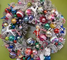 Great wreaths made with vintage items.                   stars-antiques-vintage-ornament-wreaths-01