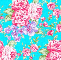 Gorgeous Temporary Removable Pink and Purple Flowers on Teal Wallpaper.