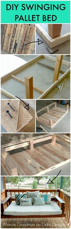 Maricie Goodman shares a step by step tutorial on how to make a DIY pallet swing. Pallet Crafts, Diy Pallet Projects, Wood Projects, Woodworking Projects, Pallet Ideas, Pallet Designs, Bed Designs, Pallet Porch, Pallet Swing Beds