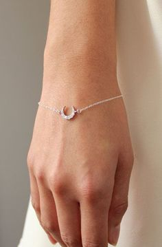 Silver Crescent Moon Bracelet
