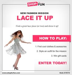 Lace is everywhere right now! Create a lacy look for your chance to win a gift card in our Lace It Up mission. #fashion #outfit #contest #game