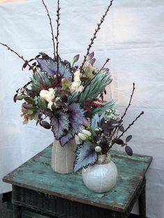 Floral arrangement from houseplants, including Rex Begonia leaves. Nice!
