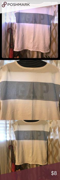 Gap Logo Muscle T-Shirt White tee with Gap logo in railroad strip pattern. Smoke free home. Make an offer! GAP Tops Tees - Short Sleeve