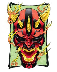 Hey, I found this really awesome Etsy listing at https://www.etsy.com/listing/186460626/darth-maul-hannya-mask