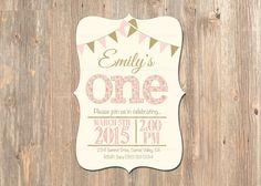 First Birthday Invitation - 1st Girl Party Invite - Rustic - Banner - Printable - Custom - Pink - Gold - Vintage - Invitations - Invites Girls -