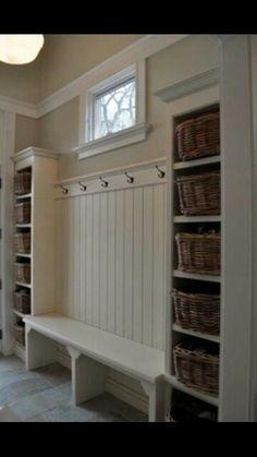 Shoe bins with a coat rack - mud room idea                                                                                                                                                      More
