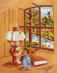 Sealed Vtg Sunset Stitchery Kit Stamped View From The Window 1980 Wool 16x20 #SunsetStitchery