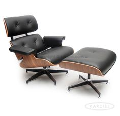 Plywood Lounge Chair & Ottoman, Black Standard Leather/ Walnut. Oh if I didn't have cats you'd be mine you sexy beast!