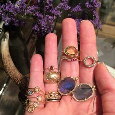 It's hard not to fall in love with each of these beautiful pieces. Which one is your favorite? #finejewelry #pavediamonds #blackdiamonds #labradorite #diamonds #lovegold #shop #lovejewelry