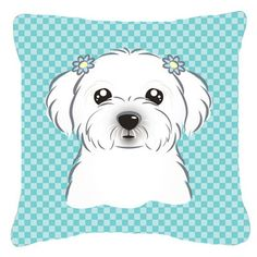 "Caroline's Treasures Checkerboard Maltese Indoor/Outdoor Throw Pillow Size: 18"" H x 18"" W x 5.5"" D, Color: Blue"