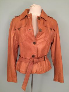 Banana Republic natural distressed leather belted shirt jacket in medium. Offered for sale @ $135: O.M.GEEEEE! This find is a triple Yahtzee folks- and just in time for jacket season! This am...