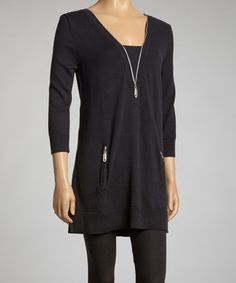 Take a look at this Black Zipper Tunic by Focus 2000 on #zulily today!