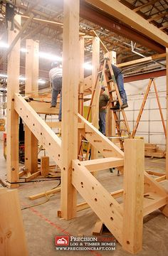 Timber Frame Stairs by PrecisionCraft Log Homes & Timber Frame, via Flickr