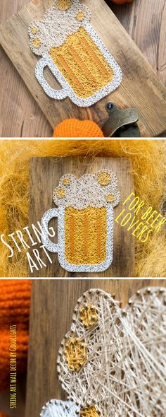 Wooden wall mount beer bottle opener made on reclaimed wood plank with beer mug string art decor, perfect for beer lover, man cave decor. Wooden wall mount beer bottle opener made on reclaimed wood plank with beer mug string art decor, perfect for beer lover or as a man cave decor. Perfect gift for that special man in your life - husband, father, grandpa or just a friend who really enjoys his beer. This beer opener will look great in your kitchen or man cave or any area where you usually…