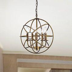 Shop for Benita 5-light Polished Brass Metal Strap Globe Chandelier. Get free shipping at Overstock.com - Your Online Home Decor…