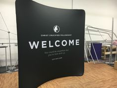 Christ Cruicified WELCOME hospitality backdrop