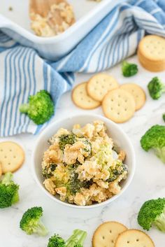 Broccoli Casserole - Tender broccoli and creamy mushroom sauce, topped with cheese and a crispy cracker topping - this side dish is a classic for a reason! This is easy comfort food, that everyone in the family is sure to love. Casserole To Freeze, Casserole Recipes, Easy Brocolli Casserole, Sweet And Sour Cabbage, Seasoned Bread Crumbs, Creamy Mushroom Sauce, Potluck Dishes, Baked Cauliflower, Broccoli And Cheese