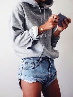 Cozy gray hoodie with blue shorts.