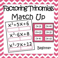 ***This Product is also part of my Factoring Polynomials Activites Bundle***This activity consists of 18 easy trinomials (no coefficient on x^2) that student must factor using the 36 binomials.  Students cut out the 36 binomials and glue them onto the corresponding trinomial.