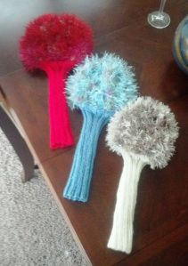 My begats' school has an annual golf tournament as a major fundraiser each year. When they reached out to the students' families for donations, I thought to offer my services in making … Golf Club Headcovers, Golf Club Covers, Golf Lessons, Knitting Projects, Knitting Ideas, Yarn Projects, Knit Patterns, Golf Clubs, Fundraising