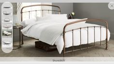 Buy Shoreditch Metal Single Bed Metal Copper from the Next UK online shop Copper Bedroom, Gold Bedroom, Bedroom Decor, Bedroom Ideas, Copper Bed Frame, Memory Foam, Bed Next, Superking Bed, Dreams Beds