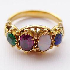 Exceptionally Fine Antique Georgian 18ct Gold Multi Stone Acrostic Ring Spells Love Stones Lapis Opal Vermeil Emerald Includes Antique Box
