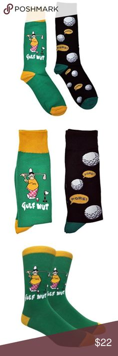 """Men's Bundle of Golf Novelty Dress Socks Men's Bundle of Golf Novelty Dress Socks. Features- Stylish and fun print, comfortable, durable, bundle includes two pairs (""""fore"""" and """"Golf Nut""""). Material- 80% cotton, 15% polyester, 5% spandex. Size: 10-13 (OS). Other designs available, bundle to save. Care Instructions- Machine wash warm with similar colors, use only non-chlorine bleach when needed, tumble dry medium. Underwear & Socks Dress Socks"""