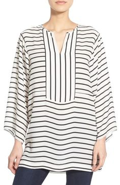 Chaus Stripe Split Neck Tunic available at  Nordstrom Striped Off Shoulder  Top 1513d89710
