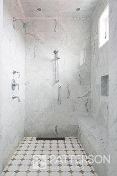 Walk-in Shower. Walk-in Shower with marble flooring. Walk-in Shower with marble tiles. Walk-in Shower bench. Walk-in Shower recessed light. Walk-in Shower window. Best Bathroom Flooring, Bathroom Floor Tiles, Wall Tiles, Marble Bathrooms, Marble Tiles, Penny Floor Designs, Marble House, Shower Installation, Walk In Shower Designs