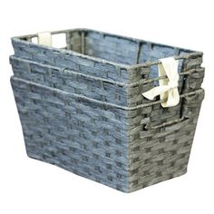 Lowes $13.493-Pack 7-in W x 9-in H x 12-in D Grey Woven Paper Cord Baskets