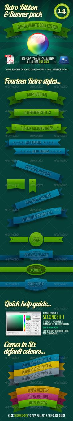 14 Retro Ribbons & Banners - Banners & Ads Web Elements