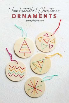 These DIY Stitched Ornaments are embroidered on wood, and they are so cute and fun to make! They are perfect for adorning your tree or attaching to gifts! Holiday Crafts For Kids, Diy Projects For Kids, Crafts For Kids To Make, Thanksgiving Crafts, Christmas Svg, Diy Christmas Ornaments, Christmas Ideas, Christmas Wreaths, Ornament Tutorial